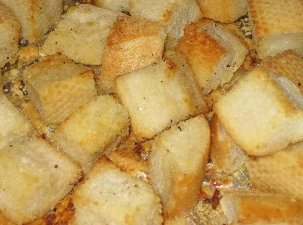 To make the croutons: Pre heat oven to 375 degrees. Line a baking sheet...