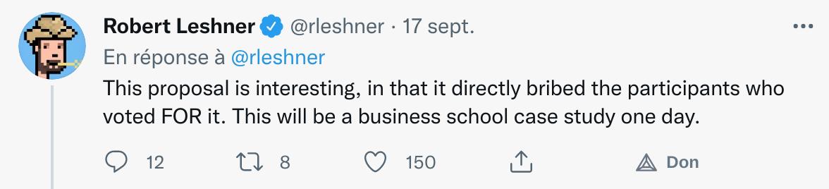 Commentaire Twitter de Robert Leshner  soulignant la méthode de Venus qui soudoie les participants qui ont voté en faveur de sa proposition