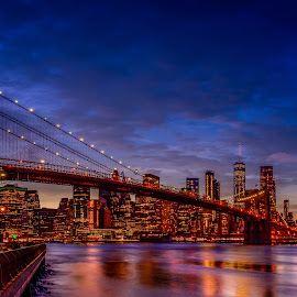 Brooklyn Bridge by Luis Silva - Buildings & Architecture Bridges & Suspended Structures ( usa, golden hour, manhattan, skylin, manhattan skyline, bridge, long exposure, brooklyn bridge )