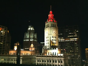 Photo: Tribune tower and Wrigley clock tower in Chitown! I heart Chicago!