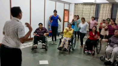 Photo: Rehearls underway for the inclusive flash mob for World Disability Day 2014 with Vaibhav guiding along with the choreography