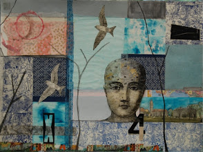 "Photo: Frigid Winter Day, 22 x 30"" mixed media collage"