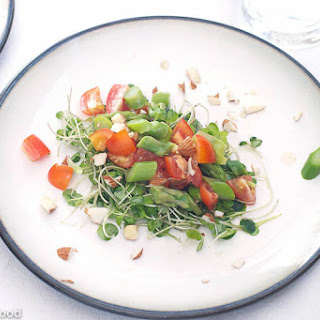 Asparagus, Tomato, Arugula Microgreen Salad.