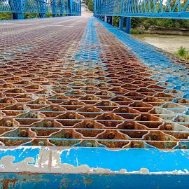 Tindle Bridge by Judy Soper - Buildings & Architecture Architectural Detail ( blue, tindle bridge, patterns, fremont, ohio, water, suspension, sandusky river )