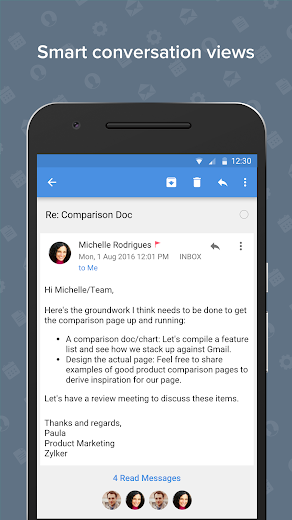 Screenshot 2 for Zoho Mail's Android app'