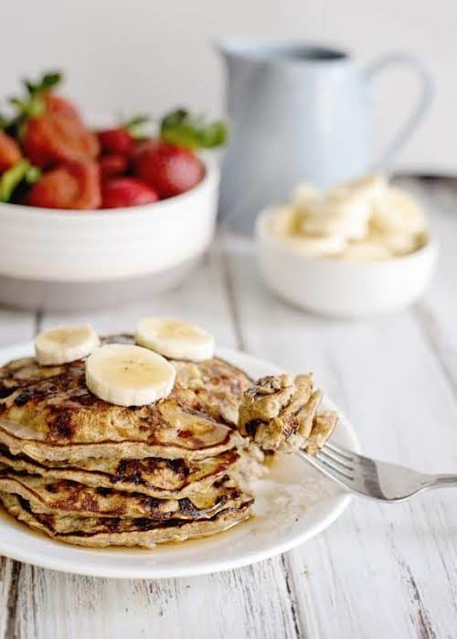"Banana Pancakes ""These warm, delicious pancakes are a cross between a traditional..."