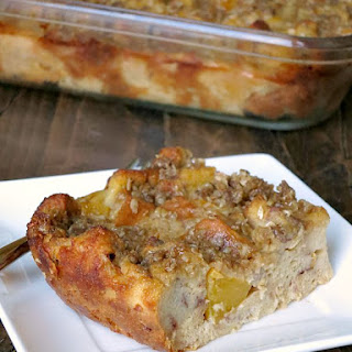 Overnight Baked Peach French Toast.