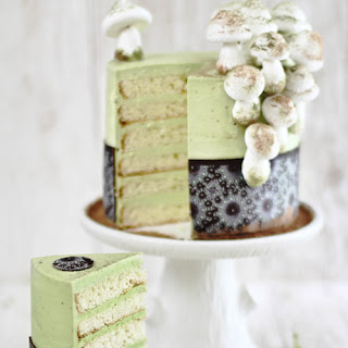 Matcha-Almond Layer Cake with Meringue Mushrooms.