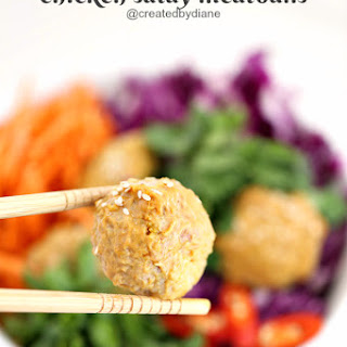 Chicken Satay Meatballs with Peanut Dipping Sauce.