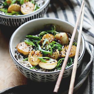 Black Sesame Soba Noodles w/ Miso Glazed Turnips.