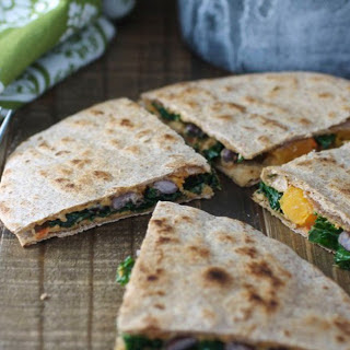 Butternut, Kale, and Black Bean Quesadillas [Vegan]
