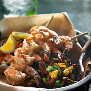 Creamy Zuccotash with Grilled Shrimp