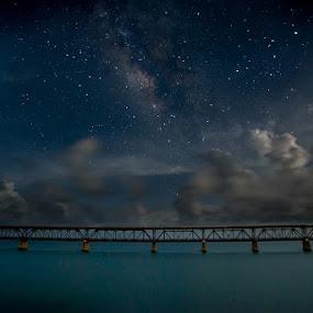 Bahia Honda Rail Bridge by Jay Kleinrichert - Landscapes Starscapes ( water, clouds, old, keys, railroad, nightscape, night photography, railway, florida, stars, night, bride, abandoned, galaxy )