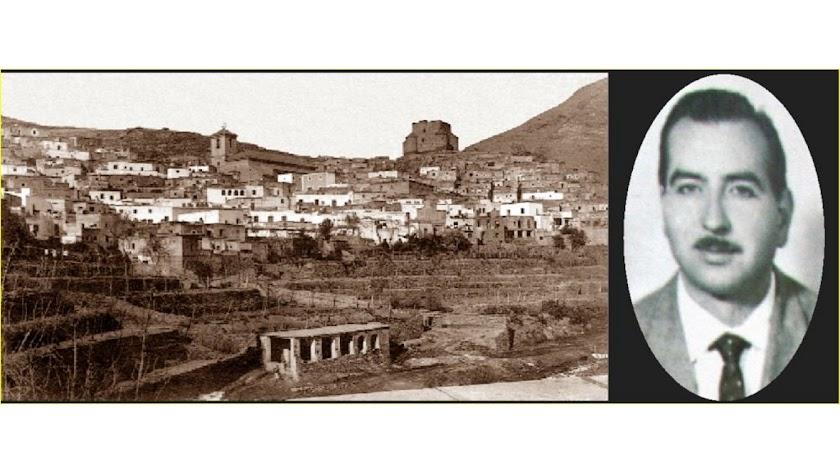 El castillo de Gérgal, en una imagen retrospectiva, y su dueño, Carlos Maeso.