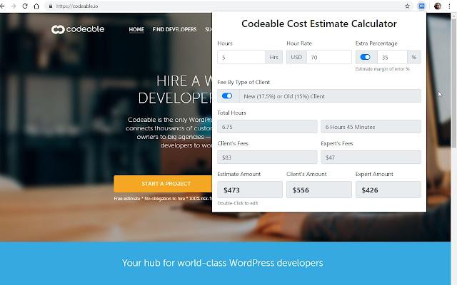 Codeable Cost Estimate Calculator