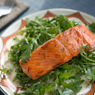 Honey Balsamic Salmon over Arugula.