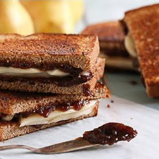 Pear and Brie Gourmet Grilled Cheese Sandwich.