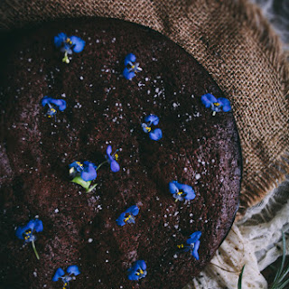 Salted Almond Flourless Chocolate Cake With Violets + A Giveaway.