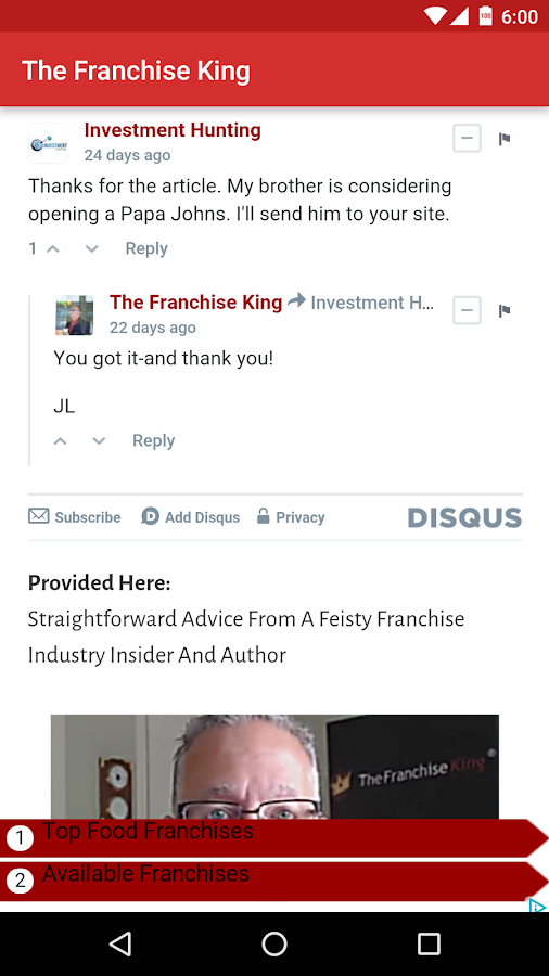 The Franchise King® App- screenshot
