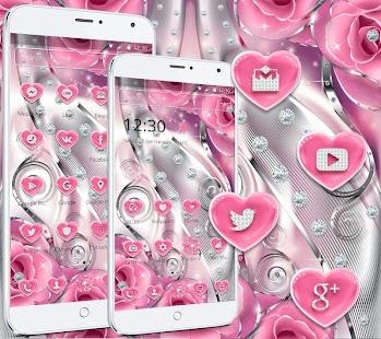 Růžová růžová diamantová láska Téma Pink rose love - náhled