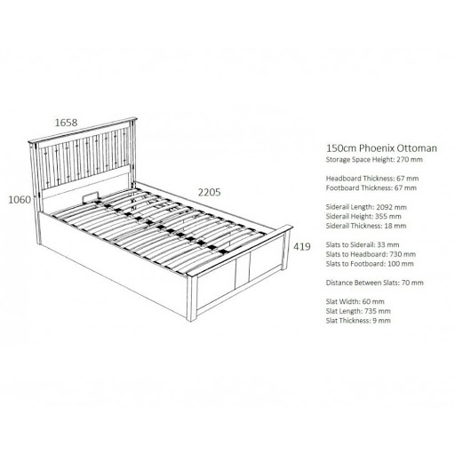 Birlea Phoenix Ottoman Bed Frame Stone Grey