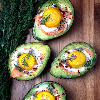 Smoked Salmon Egg Stuffed Avocados.
