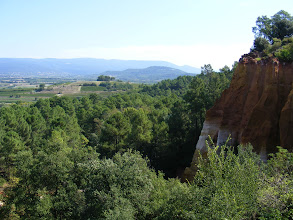 Photo: A first view of ochre cliffs on the right, along with some of the countryside scenery.
