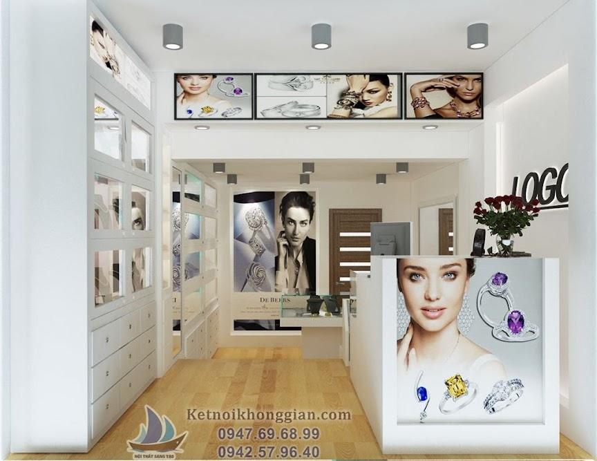 thiết kế cửa hàng trang sức kiểu bậc thang