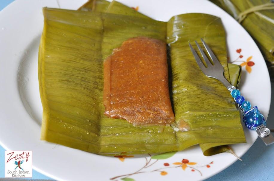 Chakkappam/  Steamed Jackfruit Rice Cake Wrapped in Banana Leaves