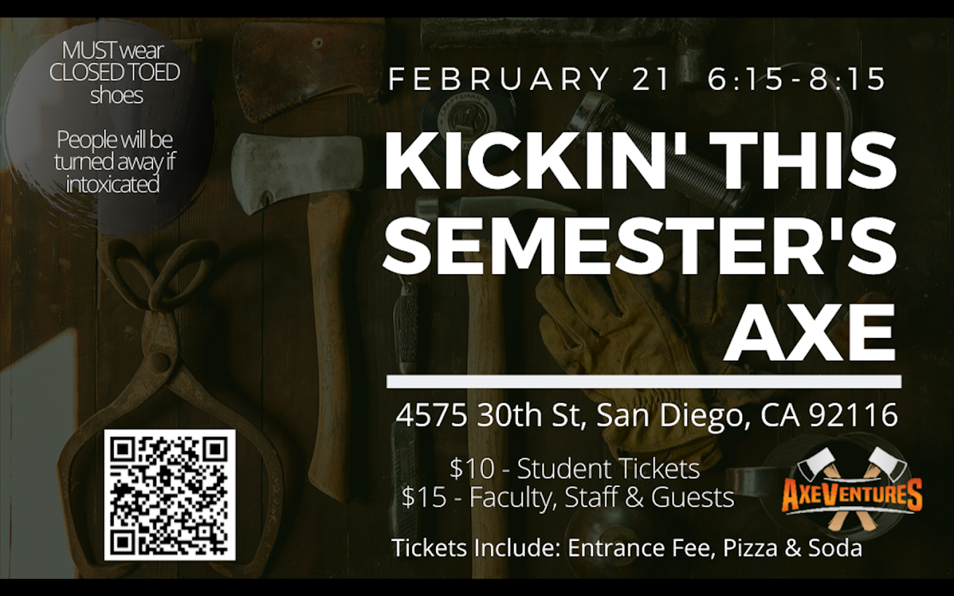 SGSAs Kickin' this semester's axe - axe throwing event on Friday, Feb 21 at 6:15pm