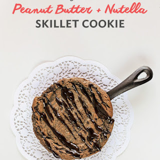 Single Serve Peanut Butter and Nutella Skillet Cookie