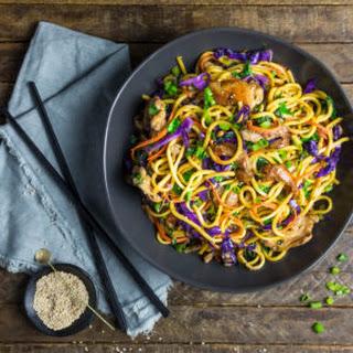 Stir Fried Lo Mein Noodles with Pork and Vegetables.