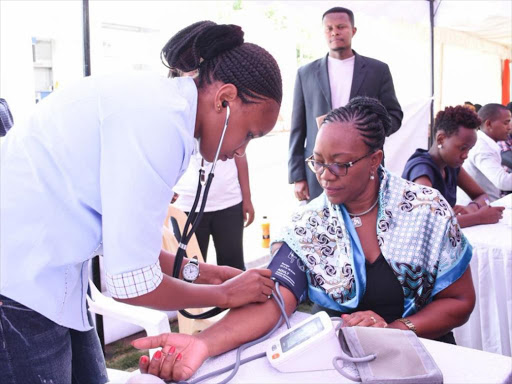 Health CS Sicily Kariuki takes part in a blood donation drive at KICC on February 14, 2018.