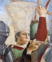 Piero della Francesca, Le Storie della Vera Croce, Battaglia di Eraclio e Cosroè, (particolare del trombettiere col copricapo alla bizantina)