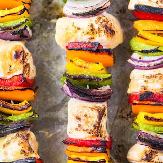 Rainbow Chicken Skewers with Spicy Pesto Sauce Recipe