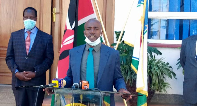 Bomet Governor Hillary Barchok speaks outside his office on Wednesday, May 13, 2020.