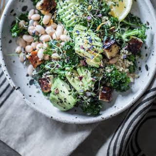 Lemony Kale & White Bean Detox Salad With Charred Tempeh.