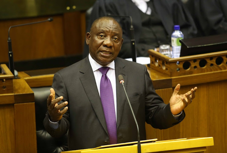 President Cyril Ramaphosa delivering his first state of the nation address in Parliament on 16 February 2018.