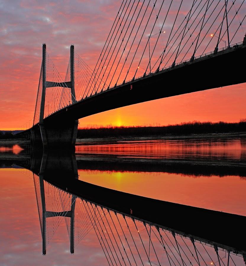 Reflecting on a Sunrise by David Patterson - Landscapes Sunsets & Sunrises ( reflection, bright, bridge, sunrise, river,  )