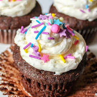 Chocolate Fudge Cupcakes with Almond Buttercream Frosting.