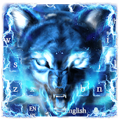 Blue fire Ice wolf keyboard
