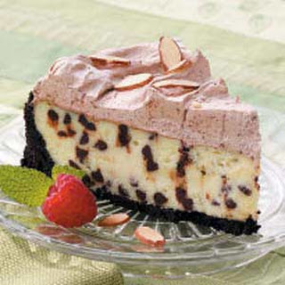 Frosted Chocolate Chip Cheesecake.