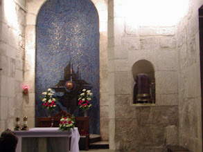 Photo: We attended Mass here with a group of Irish nuns on a pilgrimage.  The Mass was celebrated by their parish priest in English.  This chapel is run by the Franciscans and is used all day long for Masses for pilgrims in many different languages. This site is celebrated as the spot where Jesus appeared to Mary Magdalene after the Resurrection.