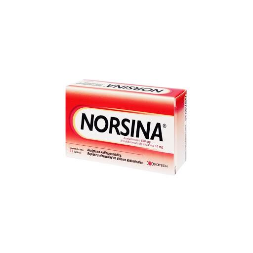 Acetaminofen + N-Butilbromuro De Hioscina Norsina 500Mg-10Mg 12 Tabletas Biotech