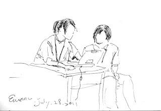 Photo: 桃少輔成長營之忙碌2011.07.28鋼筆畫 利用一點點空檔時間,淑惠老師整裡起昨天的照片和影片。