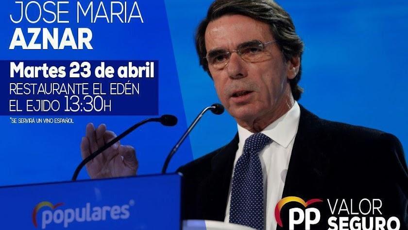 Imagen promocional del acto que protagonizará en El Ejido José María Aznar.