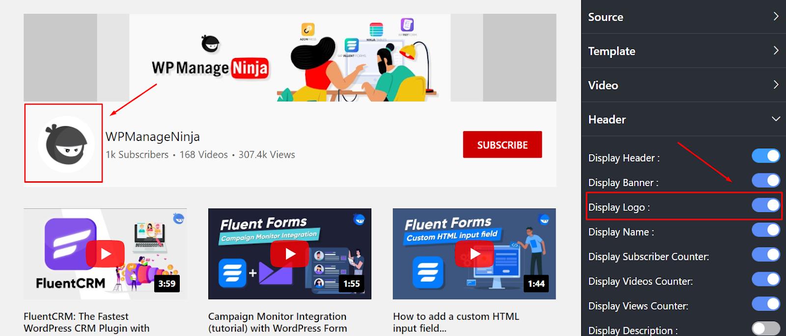 youtube settings display logo