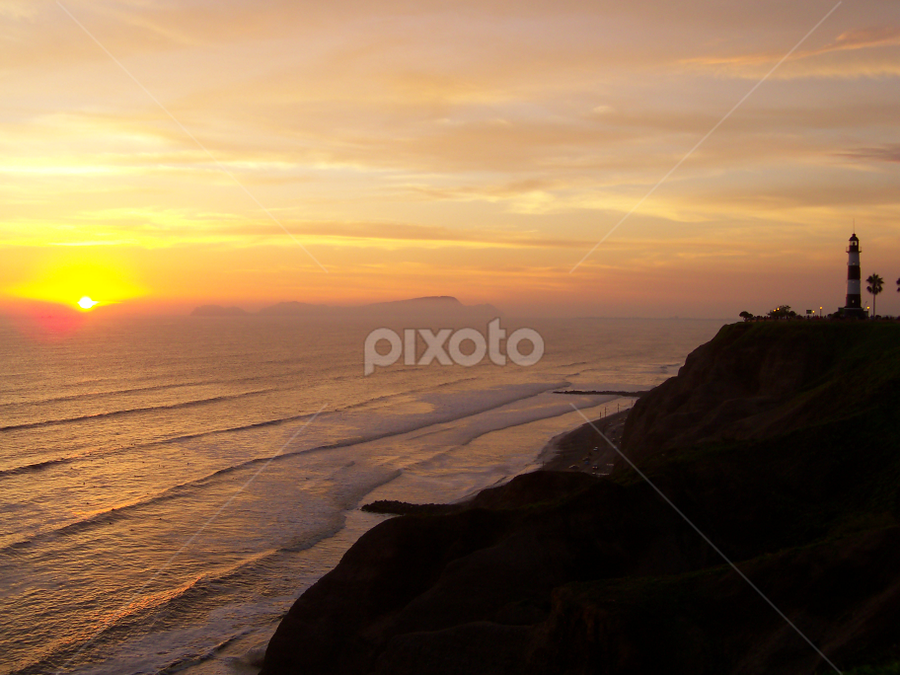 Sunset in Miraflores by Jacob Uriel - Landscapes Sunsets & Sunrises ( cliffs, peru, sunset, lighthouse, miraflores, lima )