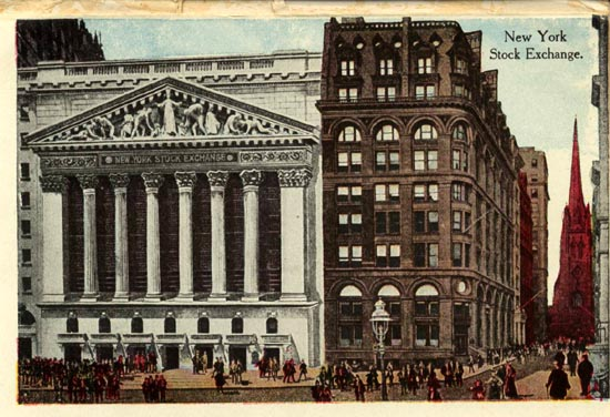 An old postcard of the NYSE.