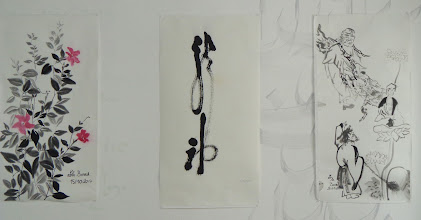 """Photo: """"Fleurs"""", peinture sur le motif. """"Calligraphie"""", copie d'une œuvre de Kodo Sawaki en style cursif. """"personnages"""", composition, iconographie de sages chinois"""